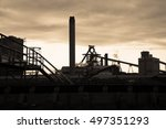 industrial steel factory over... | Shutterstock . vector #497351293