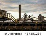 industrial steel factory over... | Shutterstock . vector #497351299