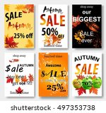 collection of autumn sale and... | Shutterstock .eps vector #497353738