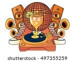 cartoon pattern music party... | Shutterstock . vector #497355259