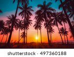 Silhouette Coconut Palm Trees Beach - Fine Art prints