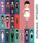 set of people  | Shutterstock .eps vector #497362093