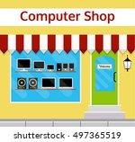 computer shop facade in flat... | Shutterstock . vector #497365519