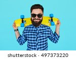 young hipster man holding a... | Shutterstock . vector #497373220