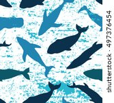 seamless pattern with whales.... | Shutterstock . vector #497376454