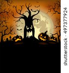 halloween background with... | Shutterstock .eps vector #497377924