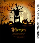 halloween background with... | Shutterstock .eps vector #497377948