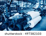 a row of textile looms weaving... | Shutterstock . vector #497382103