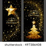 christmas card with low poly... | Shutterstock .eps vector #497386408