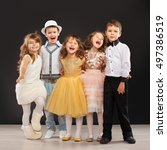 Group Of Fashionable Kids In...