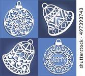 set of openwork christmas... | Shutterstock .eps vector #497393743
