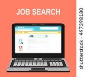 browsing for a job.flat design. | Shutterstock .eps vector #497398180