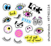 pop art set with fashion patch... | Shutterstock .eps vector #497401114