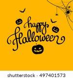 happy halloween orange poster... | Shutterstock . vector #497401573