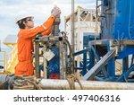 offshore oil rig worker prepare ... | Shutterstock . vector #497406316