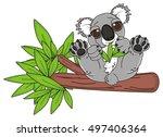 kind koala sitting on the tree... | Shutterstock . vector #497406364