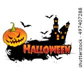 happy halloween poster  night... | Shutterstock .eps vector #497407288