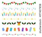set of christmas decorative... | Shutterstock .eps vector #497407858