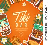 tiki tribal mask   hawaiian... | Shutterstock .eps vector #497410234