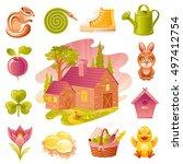 four seasons icon set. seasonal ... | Shutterstock .eps vector #497412754