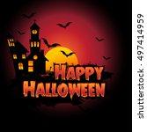 happy halloween poster  night... | Shutterstock .eps vector #497414959