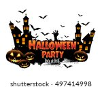 happy halloween poster  night... | Shutterstock .eps vector #497414998