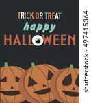 happy halloween card. vector... | Shutterstock .eps vector #497415364