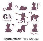 Stock vector vector collection of illustration of cute dark cat in various poses and text with cat paw prints on 497421253