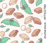 seamless pattern with hand... | Shutterstock .eps vector #497422780