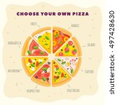 kind of pizza. types of pizza... | Shutterstock .eps vector #497428630