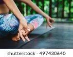 young indian woman practicing... | Shutterstock . vector #497430640
