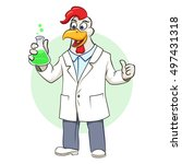 scientist rooster with flask.... | Shutterstock .eps vector #497431318