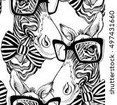 seamless pattern. zebra... | Shutterstock .eps vector #497431660