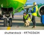 airport workers handling... | Shutterstock . vector #497433634