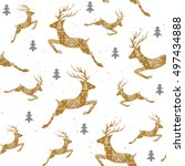 christmas seamless pattern with ... | Shutterstock .eps vector #497434888