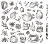 tea elements set. hand drawn...   Shutterstock .eps vector #497438110