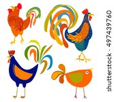 rooster birds set cock isolated.... | Shutterstock .eps vector #497439760