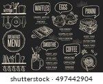 breakfast menu placemat food... | Shutterstock .eps vector #497442904