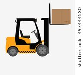 forklift truck with box... | Shutterstock .eps vector #497444530