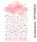 vector. cute pink watercolor... | Shutterstock .eps vector #497446810