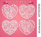 hearts with pattern of roses ...