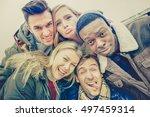 best friends taking selfie... | Shutterstock . vector #497459314