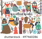 Stock vector winter woodland animals cute forest animals and design elements 497460286