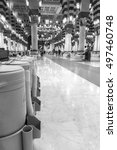 Small photo of MEDINA, SAUDI ARABIA - MARCH 03, 2015: Rows of drums of zamzam water inside Nabawi Mosque. Zamzam water are freely and available in abundant here