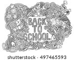 back to school supplies sketchy ... | Shutterstock .eps vector #497465593