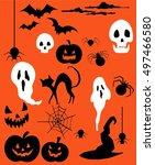 halloween set  ghosts  skulls ... | Shutterstock .eps vector #497466580