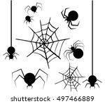 halloween  set of spiders and...   Shutterstock .eps vector #497466889