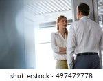 businesswoman and business man...   Shutterstock . vector #497472778