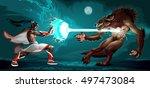 fighting scene between elf and... | Shutterstock .eps vector #497473084
