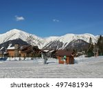 Cottage village at the ski resort, snowy Caucasian Mountains - stock photo